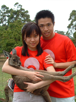 Visitors with a kangaroo